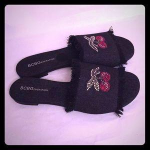 BCBGeneration Shoes - 😎BCBGeneration Black Denim Slides